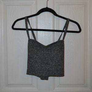 American Apparel Grey Knit Crop Top, Large